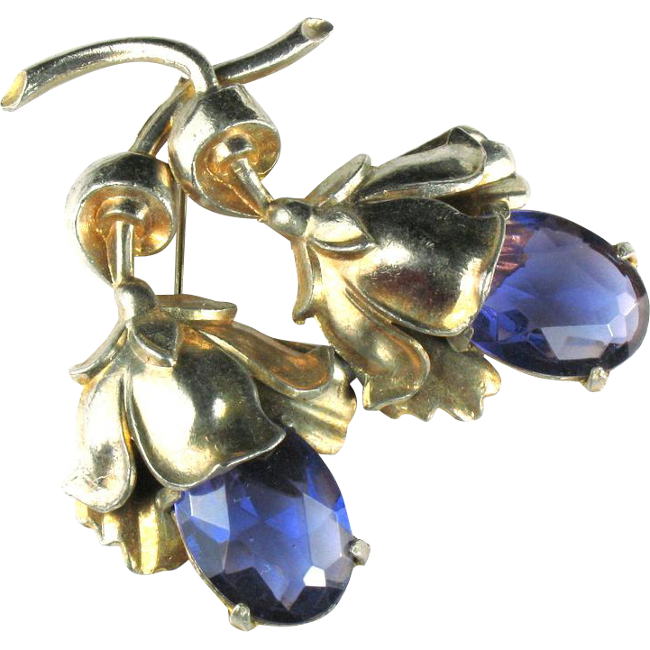 Vintage Glass Amethyst Flowers Brooch