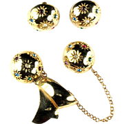 Space Age Atomic Colorful Rhinestone Chatelaine Pins and Earrings