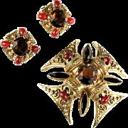 Florenza Black Topaz Maltese Cross Vintage Brooch and Earrings