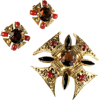 Florenza Black Topaz Maltese Cross Vintage Brooch and Earrings