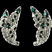 Vintage Green Crystal Rhinestone Earrings