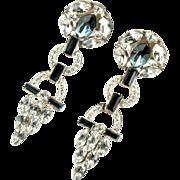 Blue Crystal Rhinestones Pendant Vintage Earrings by Tara