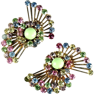 Pastel Rhinestones Vintage Fan Earrings