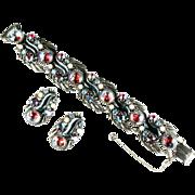 Florenza Red Blue Art Glass Rhinestones Vintage Bracelet and Earrings