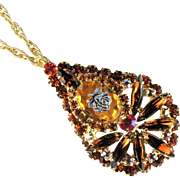Juliana Rose Topaz Rhinestone Vintage Pin Pendant by DeLizza and Elster