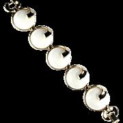 Trifari White Disk Swirl Vintage Bracelet