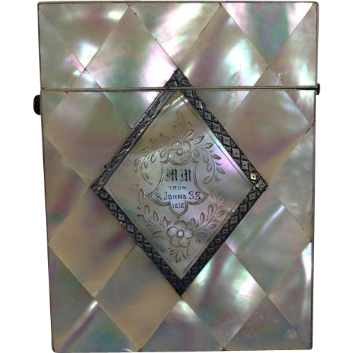 Calling Card Case, Mother-of-Pearl & Sterling Silver, 1878 English