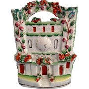 English Staffordshire Flatback Figurine of Castle with Clock Tower  C. 1880