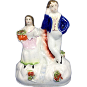 English Staffordshire Figurine Young Man & Lady, C.1850-1860
