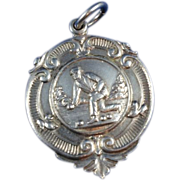 English Sterling Silver Watch Fob c. 1951 - Red Tag Sale Item