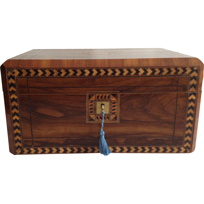Walnut Sewing Box, English Victorian Tunbridgeware