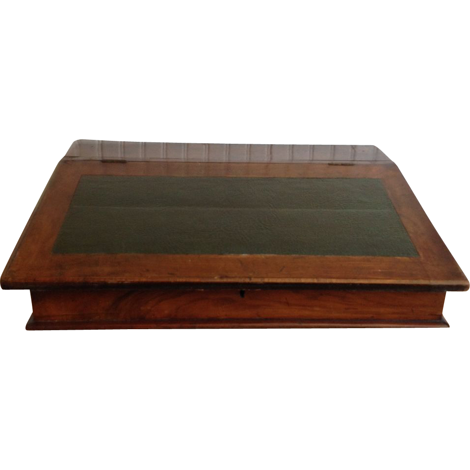 What is the name of a slanted writing table?