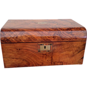 English Burr Walnut Jewelry Box Fully Fitted - Red Tag Sale Item