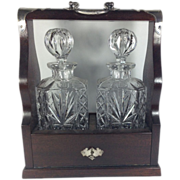 Edwardian Mahogany Tantalus With Two Glass Bottles & Key