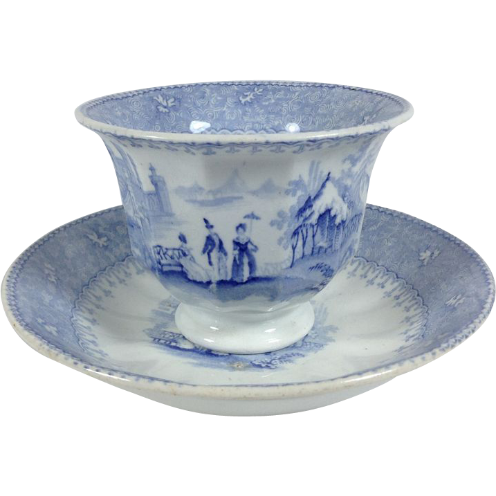1838-1840 English Blue and White Transfer ware Handleless Cup and Saucer