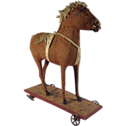 German Toy Horse Pull Toy-on-a Platform