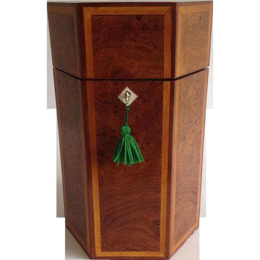 19th Century Six-Sided Burr Elm Single Bottle Decanter Box