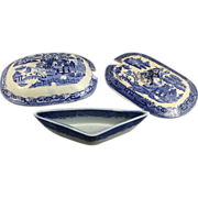 Trio English Blue Willow Lids and Dish, Pearlware Glaze