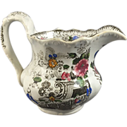 Polychrome English 1860 Transferware Jug