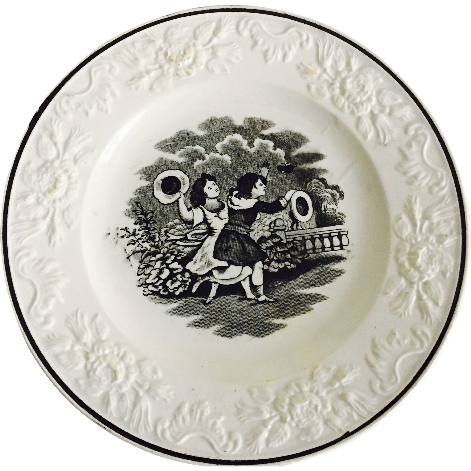 C.1850 English Black and White Transfer Plate, Chasing Butterflies
