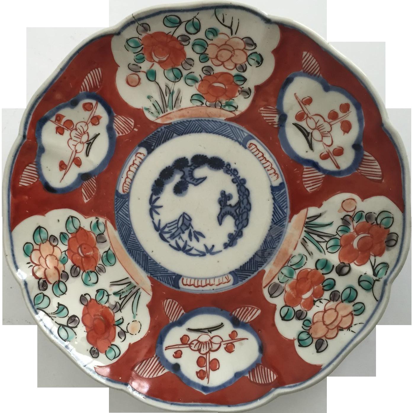 Imari Porcelain Dish, Bird's and Flower's Design