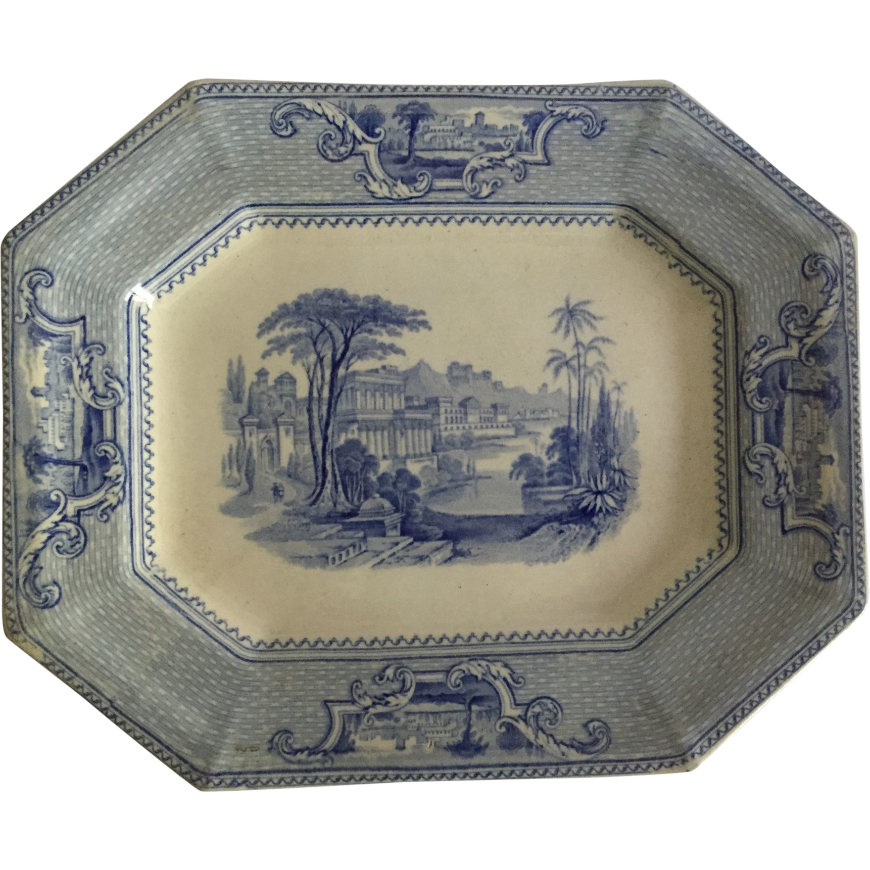 "English Light Blue Transfer Ware Ridgway Platter, ""Palestine""  C. 1841"
