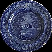 English Historical Dark Blue Plate, 1822-1840