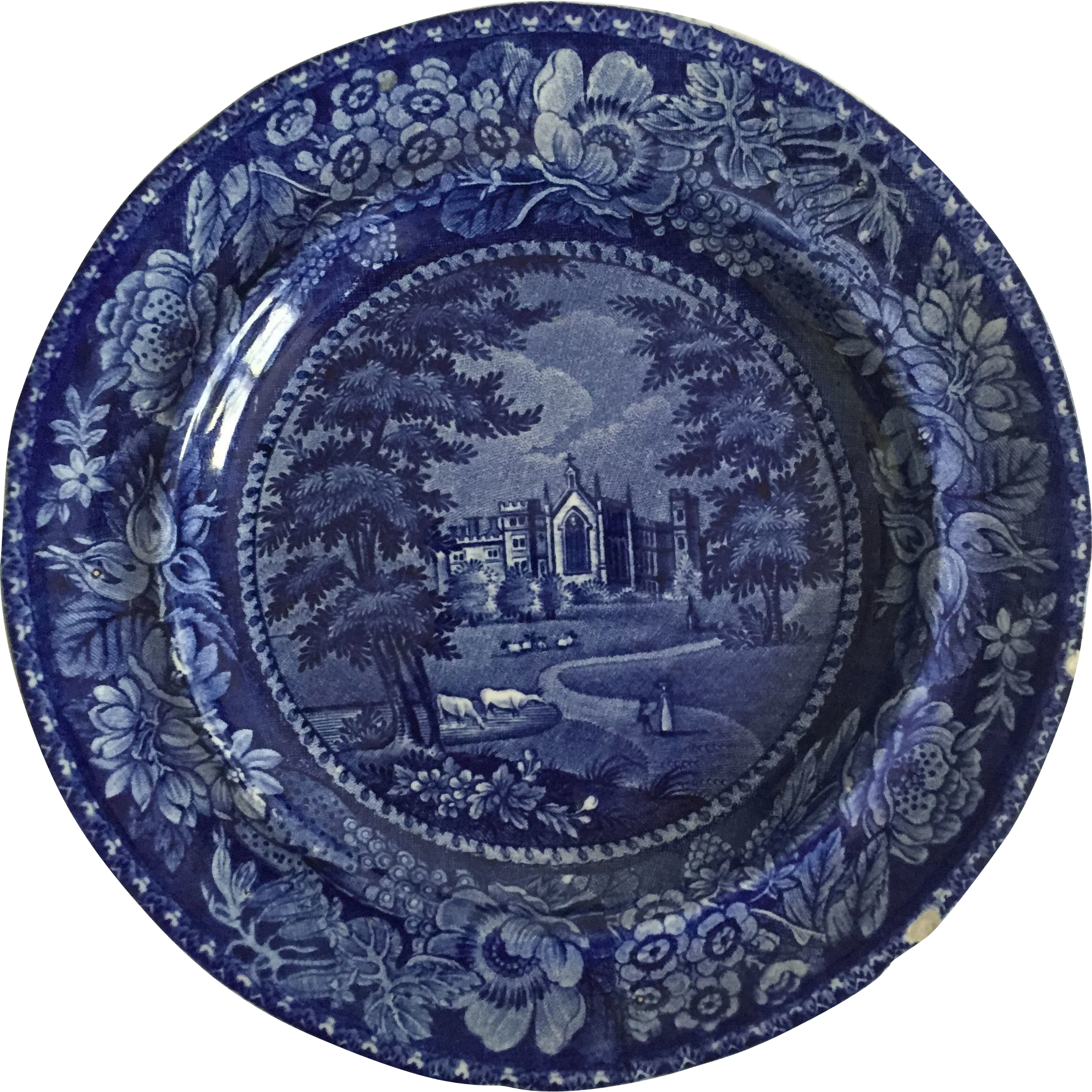 English Historical Dark Blue Plate, 1822-1840