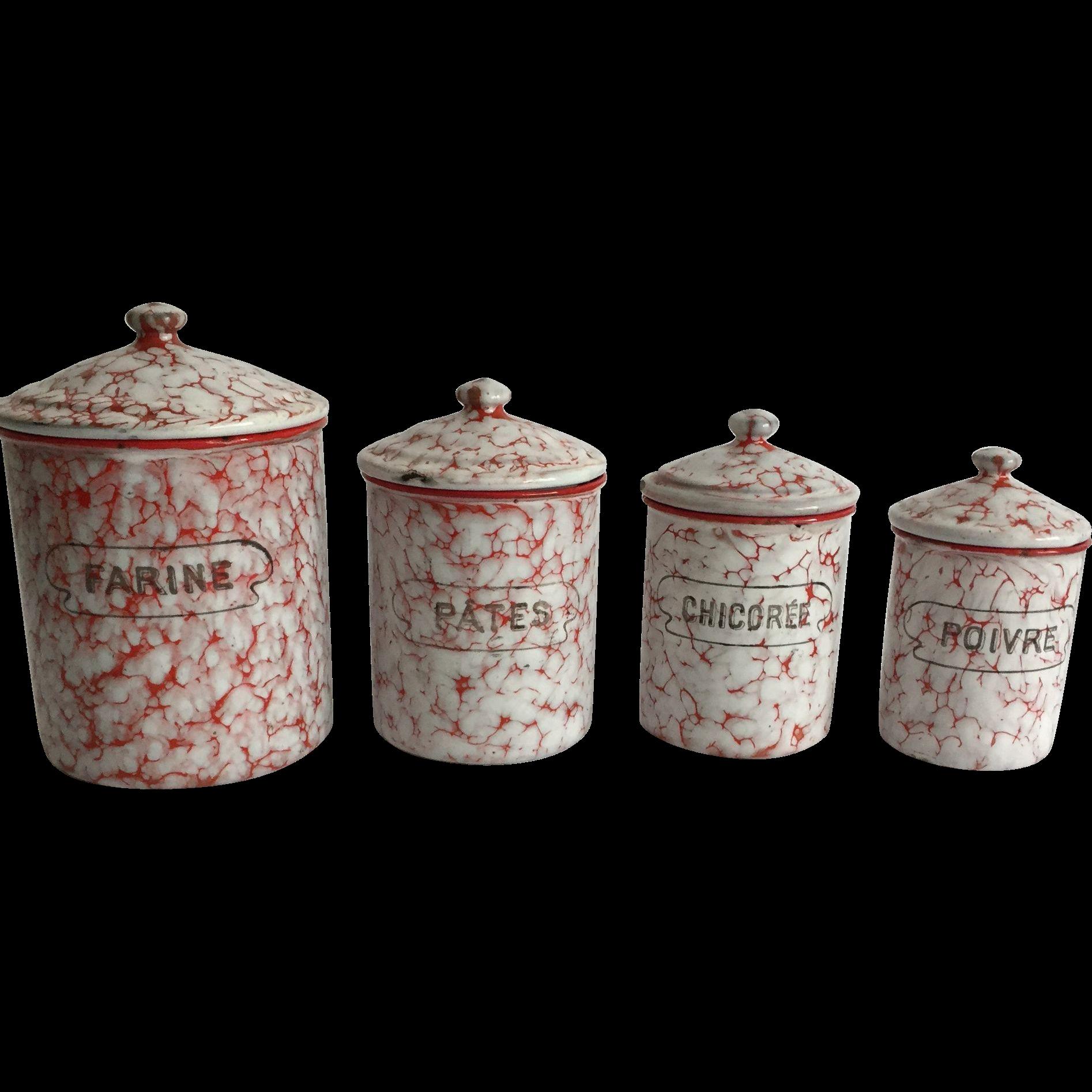 French Enamel/Granite Ware Canister Set