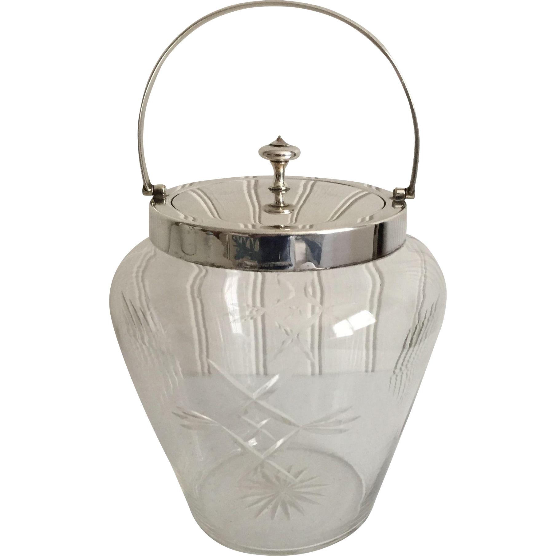 English Edwardian 1910 Glass and Silver Plate Biscuit Barrel