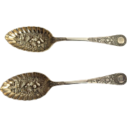 English Silver Plated Berry Spoons, Sheffield, 1890