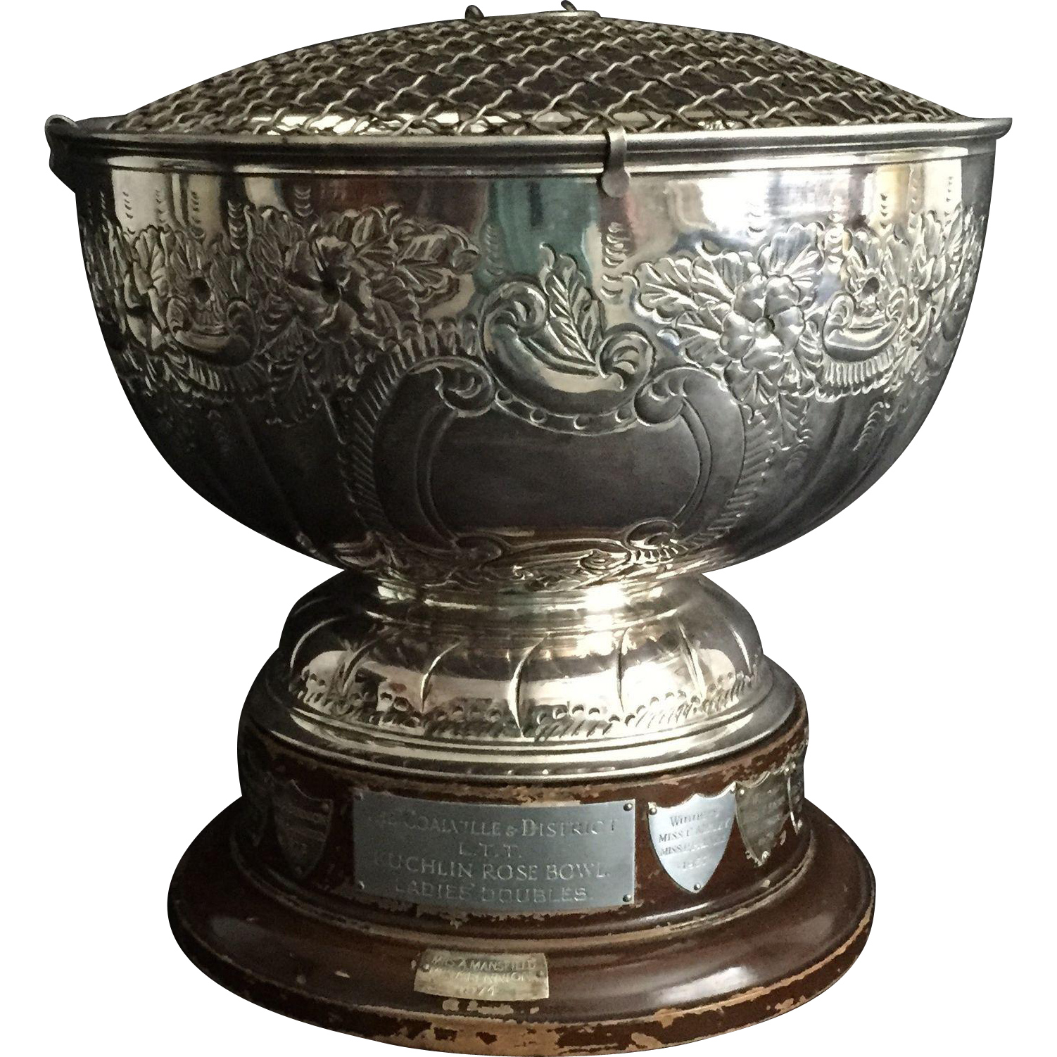 English Silver Plate Rose Bowl TENNIS Championship Trophy Cup on a Wooden Stand, 1957 - 1974
