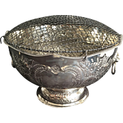 Large English Silver Plate Flower Bowl