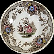1822-1849 English Staffordshire Polychrome Transfer Ware Saucer