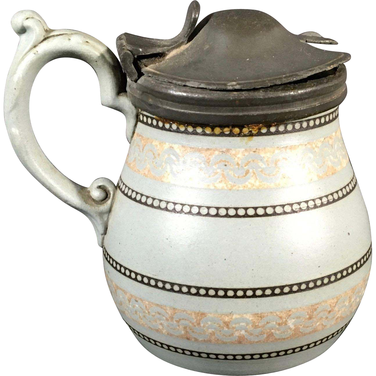 English Stoneware Jug with Lid