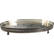 English Silver Plated Oval Gallery Tray