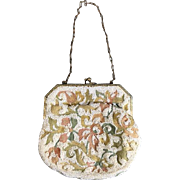 Vintage Beaded Purse with Embroidery (Tambour)