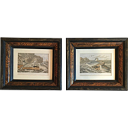 Pair of Framed Lithographs by M. Körner, a Well-Known 19th Century Swedish Artist C. MID 18OO'S