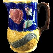 1889 English Majolica Jug/Pitcher   'English Rose'