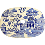 Blue and White Blue Willow Platter Drain, 1860