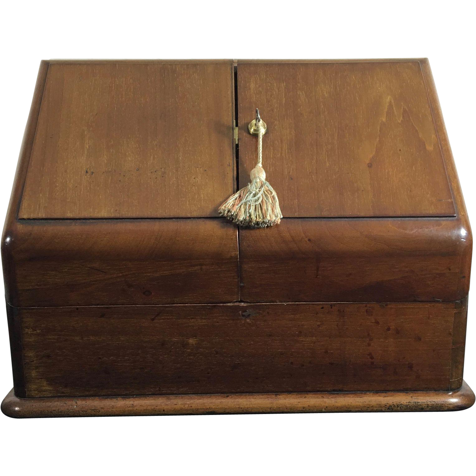 Mahogany Slope-Lid Stationary Cabinet Box, Fully Fitted, 1891