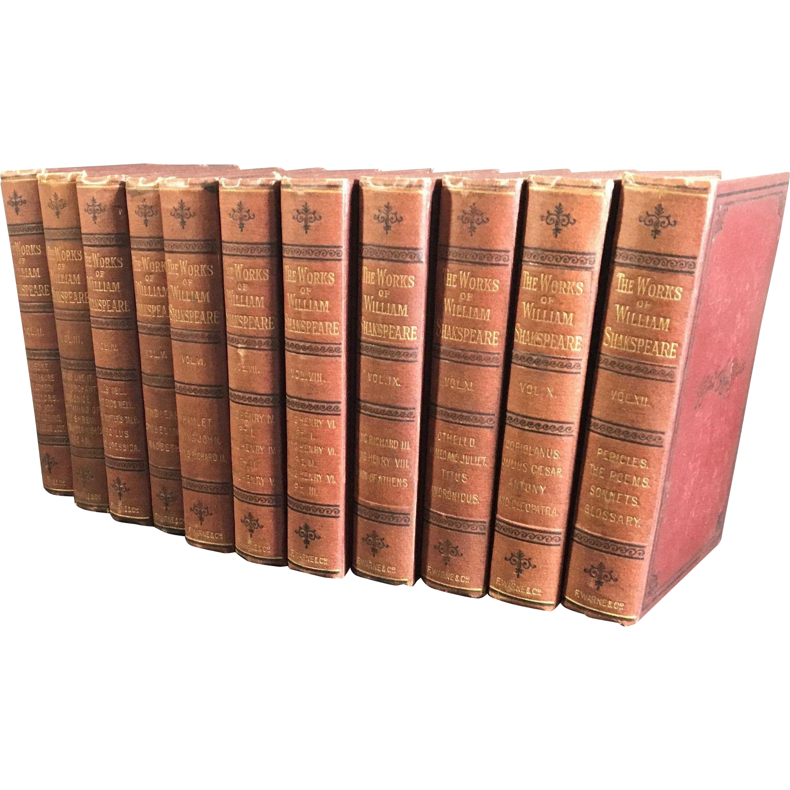 The Works of William Shakespeare with Life and Glossary, Complete in 12 cloth bound volumes, The Bedford Edition