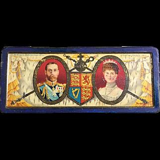 1911 Coronation Rowntree Cocoa & Chocolate tin box, King George V, Queen Elizabeth Commemorative Souvenir