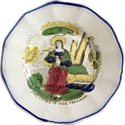 THE PRIDE OF THE VILLAGE, English Staffordshire Transferware Child's Plate 1840