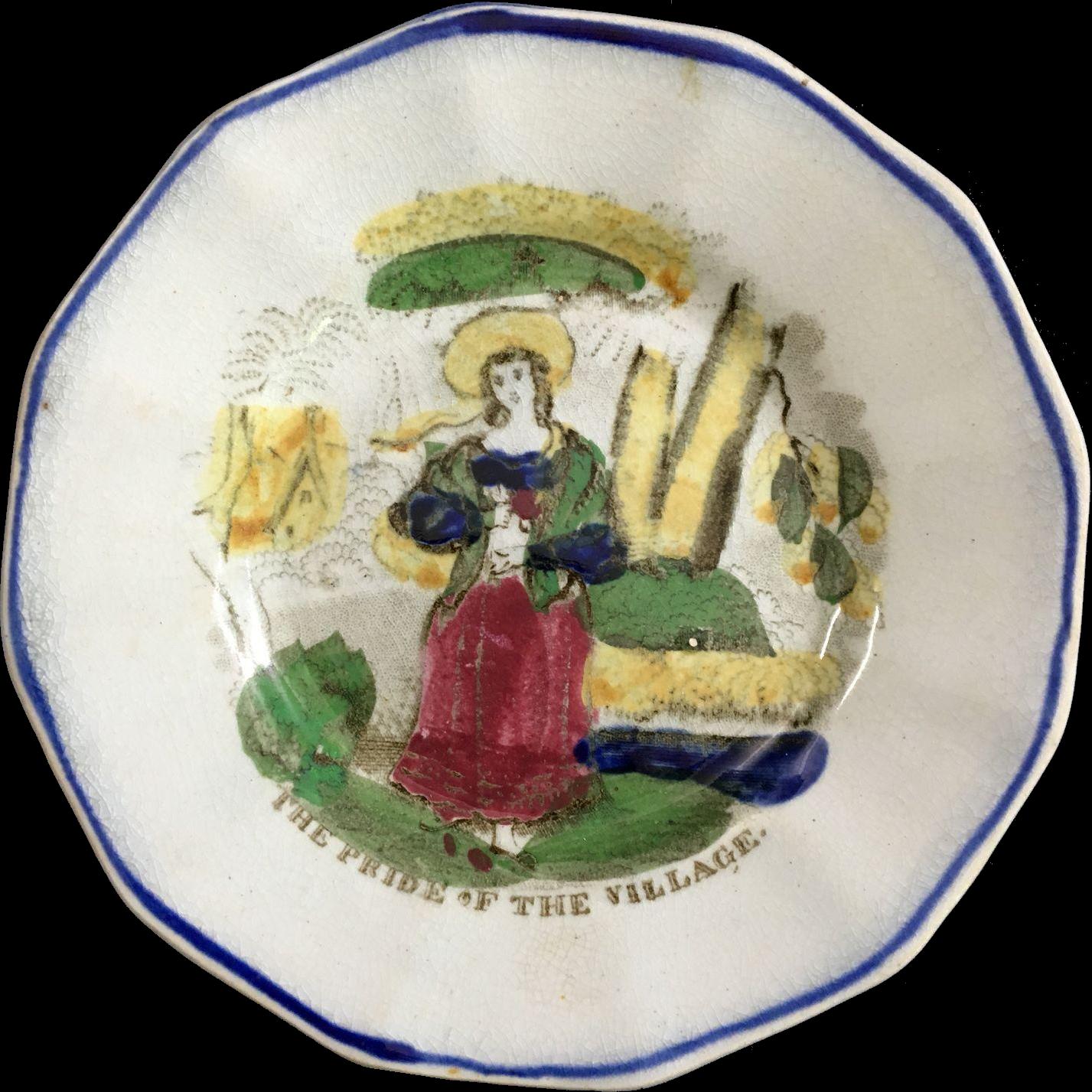 THE PRIDE OF THE VILLAGE, English Staffordshire Transferware Child's Plate 1840