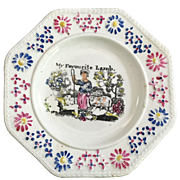 C.1840 Child's Octagon Gift Plate   'My Favorite Lamb'