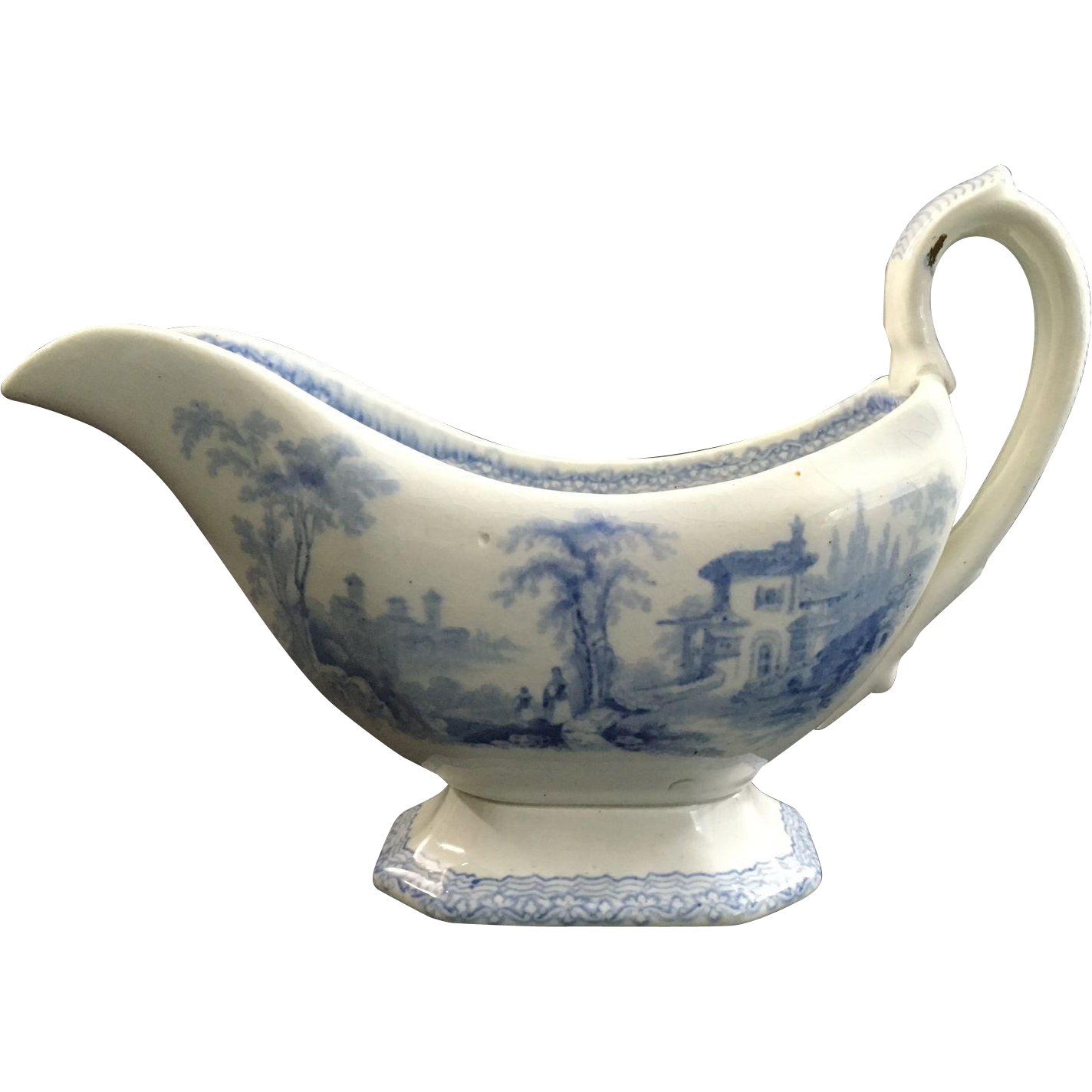 1844 Blue and White Transfer Pitcher