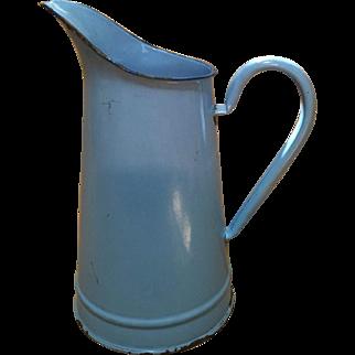 French-Blue Enamel Ware Jug