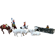 Assortment Miniature Cast Metal Sheep, Horses, Cowboys