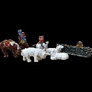 Assortment Miniature Cast Metal Sheep, Horses, Cowboys - Red Tag Sale Item